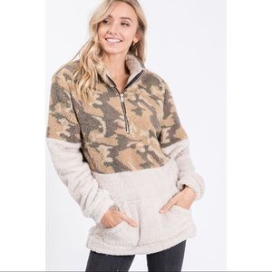 Camouflage Print Sherpa Pullover Sweater